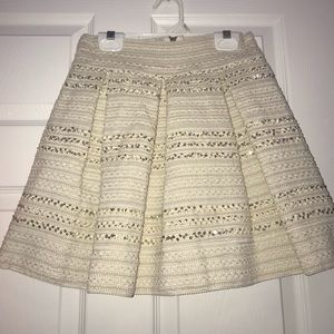 Beige quilted sequin holiday mini skirt